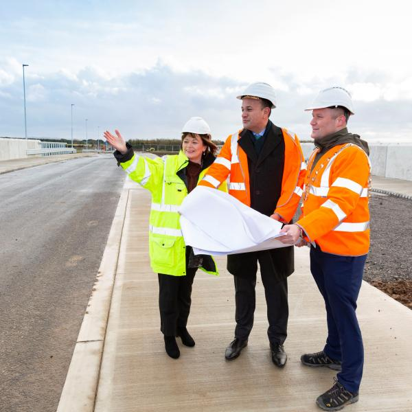 The Mayor of Fingal, Cllr Eoghan O'Brien and Fingal County Council Chief Executive AnnMarie Farrelly gave An Taoiseach Leo Varadkar, TD, an update on the progress of the Donabate Distributor Road during a site visit today.